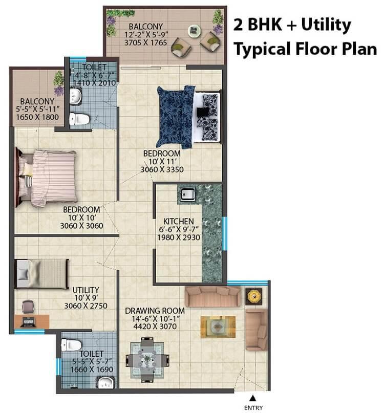 Conscient Habitat 78 2bhk utility floor plan